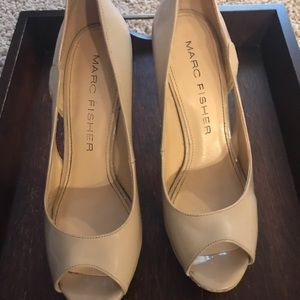 Marc Fisher nude peep toe heels size 7 and 1/2